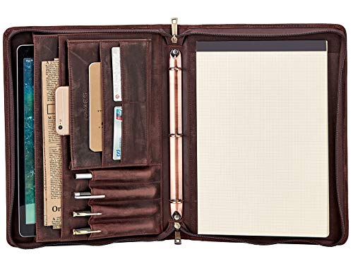 Vintage 3-Ring Binder Portfolio, Handmade Crazy-Horse Leather Legal Pad/Notepad Padfolio Case for Business Daily & Travel (Non-Custom, Dark Brown)