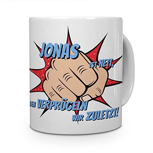 printplanet Filiżanka z imieniem Jonas - motyw opryskiwania - filiżanka z imieniem, kubek do kawy, kubek, mug, filiżanka do kawy - kolor biały