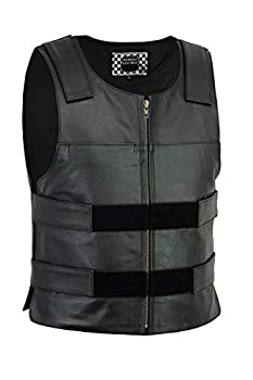 Highway Leather Men Bulletproof Style Leather Vest  Replica   M  Black