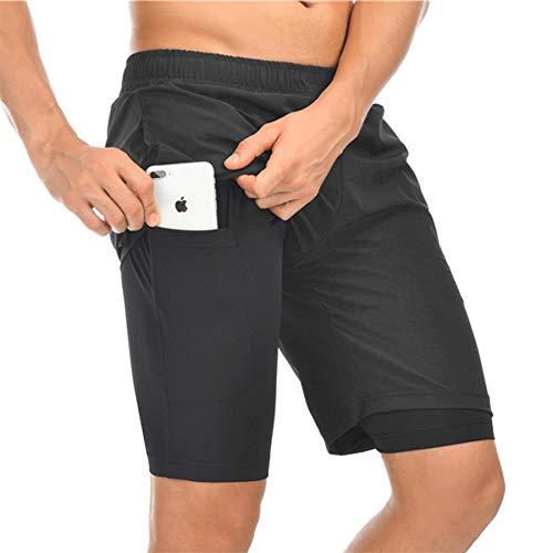 Hombres Pantalones Cortos de Deporte 2-en-1, Pantalones Cortos Hombre 7