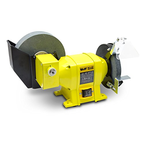 Wolf 250w Dual Stone Bench Grinder 8  Wet and 6  Dry
