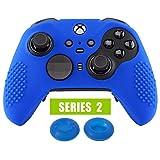 eXtremeRate Cover Skin per Xbox One Elite Controller Series 2, Custodia Protettiva in Silicone con Gommini Coprilevette Analogiche Thumb Grips Antiscivolo per Xbox One Elite V2 Joystick(Blu)