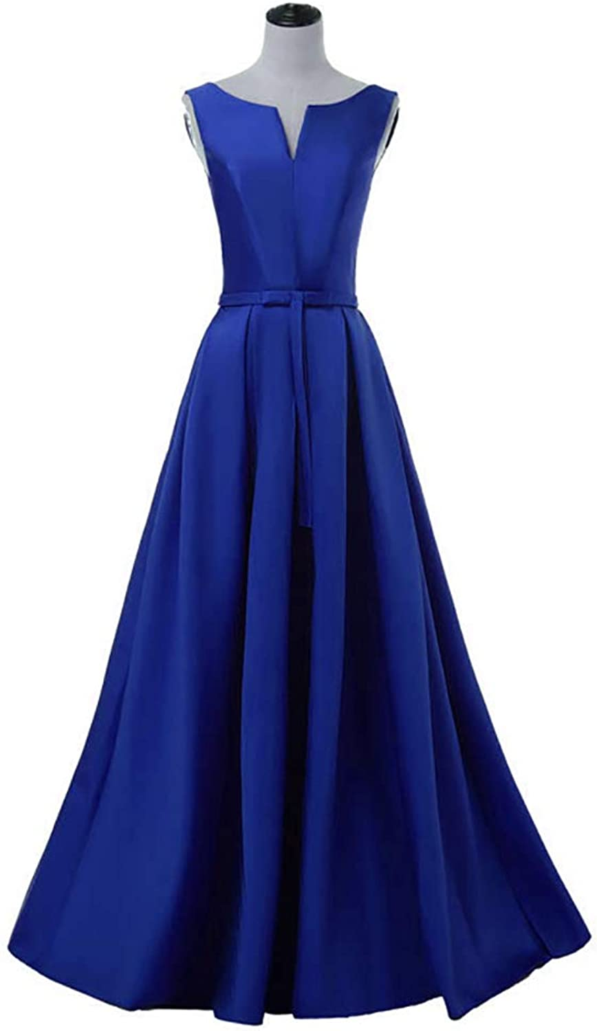 Baixia Womens V Neck Satin Wedding Party Dresses Evening Prom Gowns