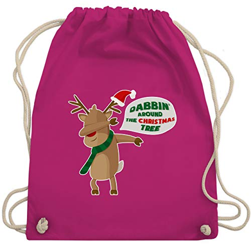 Weihnachten & Silvester - Dab Rentier Weihnachten - Unisize - Fuchsia - turnbeutel grün - WM110 - Turnbeutel und Stoffbeutel aus Baumwolle