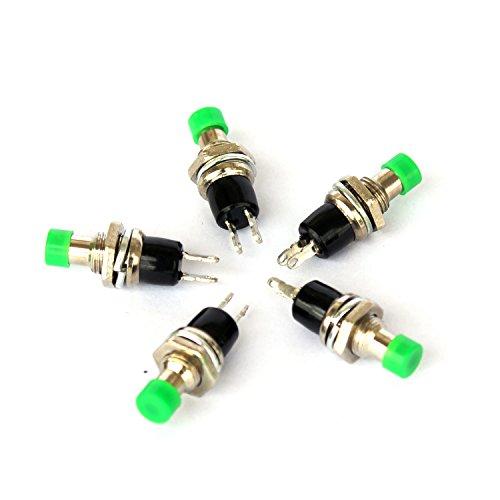 Ytian - Lote de 5 interruptores mini para interruptor normal abierto, 250 V, 2 A, color verde