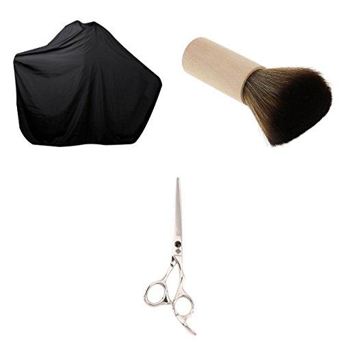 MagiDeal Pro Ciseaux de Coiffure Coupe de Cheveux + Brosse Esthétique du Visage + Cape Gros Robe de Coupe pour Salon de Coiffure