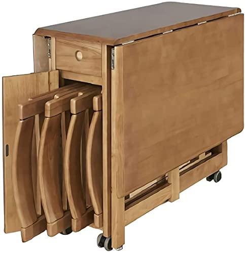 JIAChaoYi Mesa de Comedor Plegable de Madera de Goma sin ensamblaje, Juego de Mesa de Comedor de 5 Piezas, Mesa de Pub de Cocina con 4 sillas, cajón