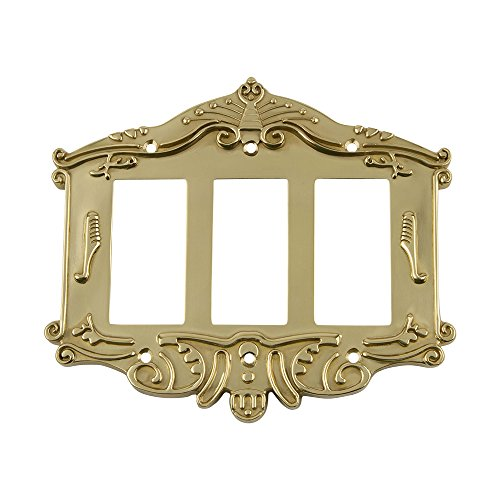 Nostalgic Warehouse 720087 Victorian Switch Plate with Triple Rocker, Unlacquered Brass