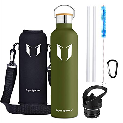 Super Sparrow Water Bottle - Stainless Steel Bottle - Double Walled Vacuum Insulated - Standard Mouth Flask - BPA Free - Ideal as Sports Bottle (500ml - Sage)