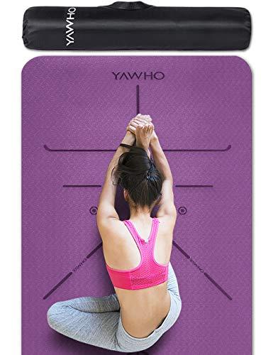 YAWHO Tapis de Yoga Tapis Fitness Tapis d'Exercice,matières de TPE,Dimension:183cmX66cm,épais de 6 mm,très Grand Tapis de Sport antidérapant,Un Sangle et Un Sac à Dos comme des Cadeaux (Violet)