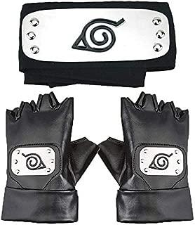 Naruto Headband, Leaf Village Headband and Cosplay Gloves Hatake Kakashi Ninja Cosplay Accessories(Black)