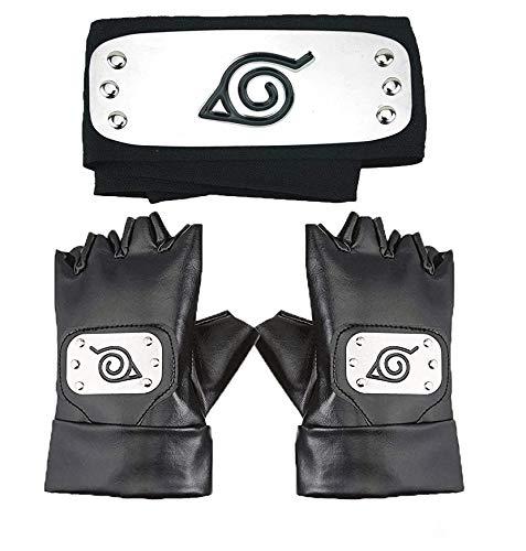 Master Online Naruto Headband, Leaf Village Headband and Cosplay Gloves Hatake Kakashi Ninja Cosplay Accessories(Black)