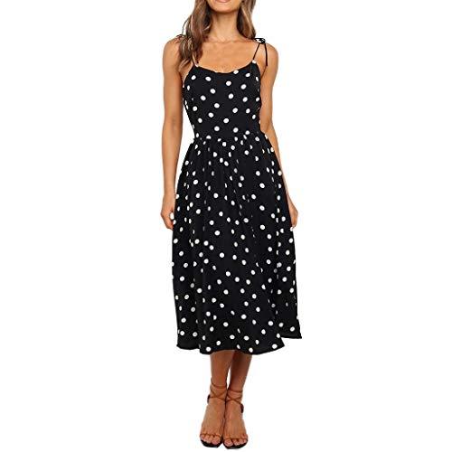 Urlaub Sommerkleid Damen,Hevoiok Partykleid Sexy Casual Boho Frauen Blumen Midi Kleid Sling Abendkleid Strandkleid (Schwarzer, XL)