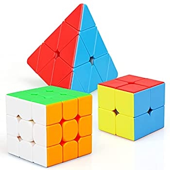 STEAM Life Educational Speed Cube Set 3 Pack Magic Cube - Includes Speed Cubes 3x3 2x2 Speed Cube Pyramid Cube - Puzzle Cube Puzzles