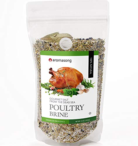 Aromasong Turkey Brine, HERBS DE PROVENCE, For Wet & Dry Brining, Bulk 2 Lb. Bag, 100% Natural, Gourmet Sea Salt Poultry Seasoning, for Roasting, Grilling, & Smoking for Brisket, Chicken, Pork & Beef.