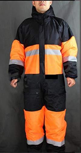 Reflektorweste Warnweste Reflektierendewinterarbeitskleidung Outdoor Wärmeschutz Uniformen Herren Baumwolle Gepolsterte Sicherheitskleidung Dicke Warme Arbeitskleidung, Orange, 4XL