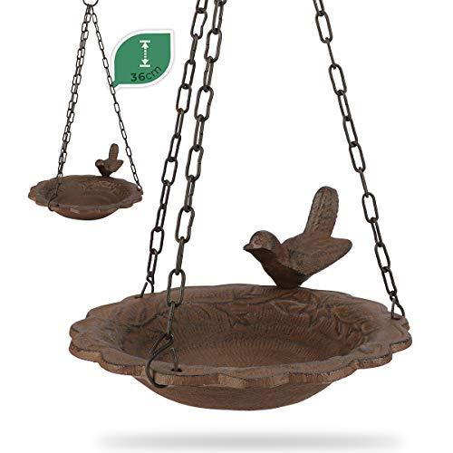 WILDLIFE FRIEND I Vogeltränke hängend - aus Gusseisen für Garten & Balkon (∅ 18cm) I frostsicher Wasserschale, Vogelbad - Vogeltränke zum Aufhängen für Wildvögel