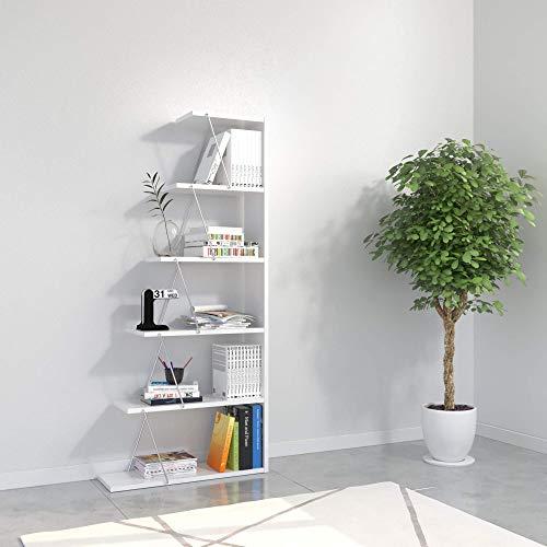 Homemania, Libreria Tars, Bianco/Cromo, in Truciolare Melaminico Metallo-per Soggiorno, Camera, Ufficio-Scaffale, Mensola, Libri