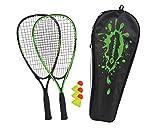 Schildkröt Speed-Badminton Set, 2 handliche Aluminium-Rackets, Länge 54,5cm, 3 windstabile Bälle, perfekt geeignet für EIN windstabiles und schnelles Federball, wertige Tasche, 970905