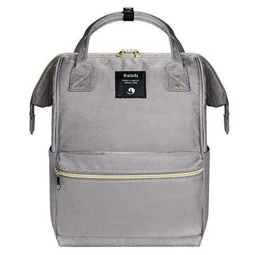 KALIDI Rucksack Damen Rucksack Herren Mädchen Jungen & Kinder Vintage Schulrucksack mit laptopfach für 15 Zoll Notebook,wasserdichte Schultasche,Grau