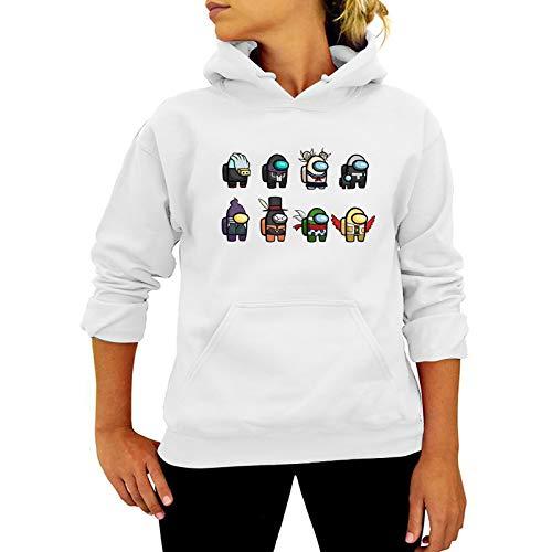 YU-K Among us Sudadera con Capucha Unisex Hombres Mujeres Top Primavera Otoño Chaqueta Suéter de Manga Larga Deportes Ropa Deportiva/White/XXXL