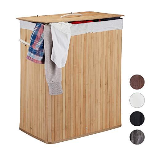 Relaxdays Wäschekorb Bambus mit Deckel, rechteckiger Wäschesammler, 2 Fächer, 95 l Volumen, faltbare Wäschebox, natur