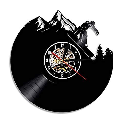 LKJHGU Reloj de Pared de Arte de Pared de esquí de Estilo Libre, Deporte de Invierno, esquí de montaña, Reloj de Vinilo Vintage, Reloj de Regalo para Esquiar en la Nieve, Snowboarder