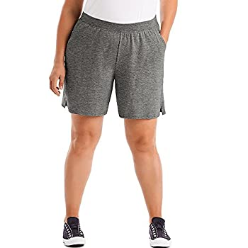 JUST MY SIZE Womens Cotton Jersey Pull-On Shorts 2X Charcoal Heather