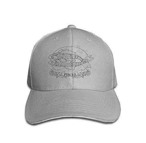 Vintage Cap Hat Adjustable Baseball Hat for Unisex Natural Pisces Zodiac Sign Coloring Book Stencil Black White Lines lace Pattern