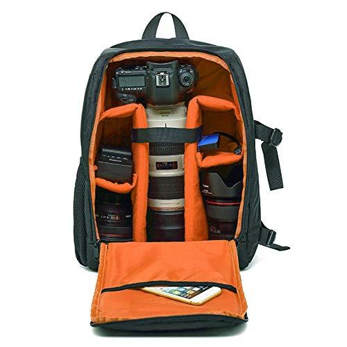 WDXB Kameratasche Rucksack, Wasserdicht Und Stoßfest Außentasche Für Digitale Spiegelreflexkamera Spiegellosen Kamerablitz Oder Anderes Zubehör,Orange