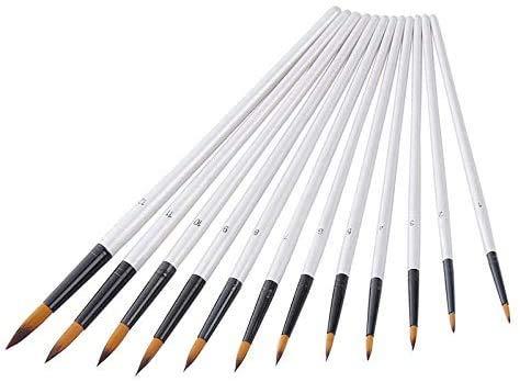 CODREAM Juego de 12 Pinceles de Nailon para el Pelo, Pinceles de Pintura Acrílica, Pintura al óleo, Acuarela, Pintura Gouache Pintura Facial