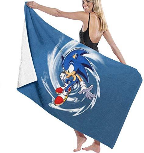 Ewtretr Telo/Asciugamano Mare Sonic The Hedgehog 9 Beach Towels Ultra Absorbent Microfiber Bath Towel Picnic Mat for Men Women Kids