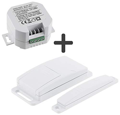 Pilota Casa Funk Magnetkontakt-Schalter mit Funk-Empfänger I 230V Universal einsetzbar bis 2000Watt I kabellose Funksteuerung für elektronischen Geräten wie Dunstabzug, Lampen, Leuchten