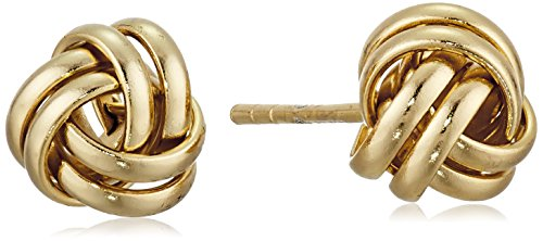 Gold Plated Sterling Silver Thick Love Knot Post Stud Earrings