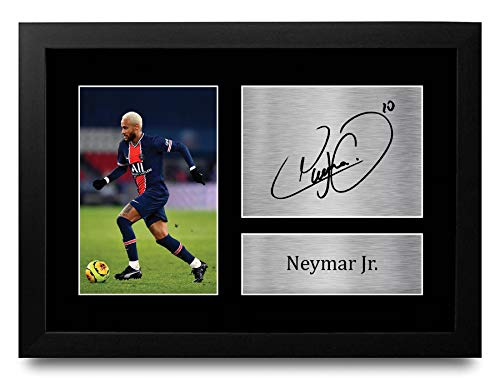 HWC Trading Neymar Jr A4 Gerahmte Signiert Gedruckt Autogramme Bild Druck-Fotoanzeige Geschenk Für PSG Fußball Fans