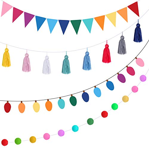 4 Pieces Colorful Garland Banner Felt Balls Garland Tassel Triangle Flags Light Bulb Banners for Christmas Holiday Wedding Party Wall Decorations