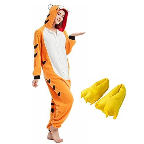FangYuan Pijamas para Adultos, Pijamas De Animales, Pijamas De Dibujos Animados para Mujeres, Pijamas De Una Pieza para Hombres, Disfraz De Cosplay, Ropa De Dormir con Zapatillas-Tigre Naranja_S