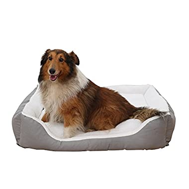 petwe Pet Bed Soft Plush Dog Bed Reversible Bolster Pillow With Removable Washable Cover, Small/Large/Jumbo, White-Jumbo