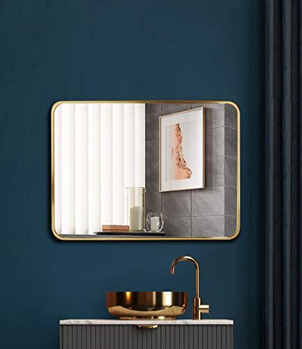 Wand-Badezimmerspiegel, Großer moderner und einfacher Spiegel mit Goldrahmen zur Wandmontage Horizontal oder vertikal hängt für Zuhause, Hotel, Gold
