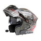 YH600 Hombres Cascos Moto con Bluetooth Modular Doble Visera Tirón Encima del Casco de la Motocicleta Frente Moto,L