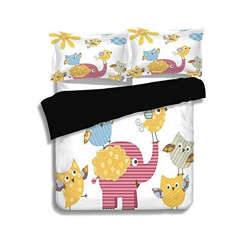 Ensemble housse de couette noir, chambre de bébé, animaux heureux, conception colorée, soleil, nuages, éléphant, oiseaux, hiboux et décoratif, décoratif, rose clair bleu clair, ensemble de literie déc