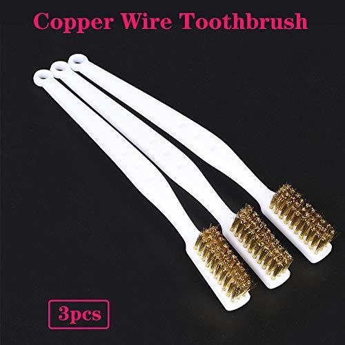 PoPprint - Set di 3 mini spazzole in ottone per la pulizia della stampante 3D, strumento di pulizia della stampante 3D, spazzolino con filo di rame per la pulizia di blocchi di riscaldamento