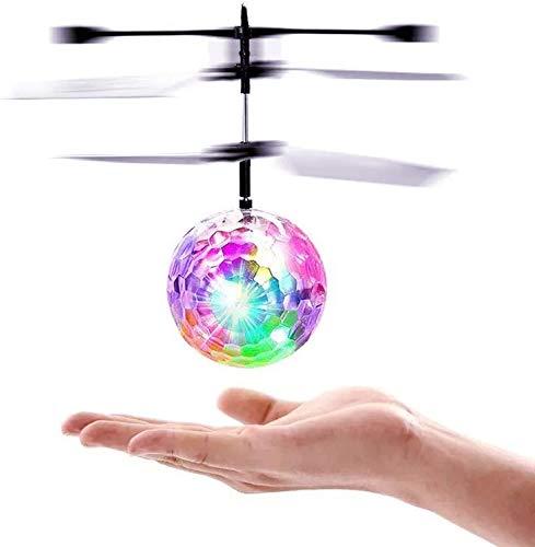 Fliegender Ball, Flying Ball Mit bunt leuchtendem LED Lichtern, Flugspielzeug Spielzeug Wiederaufladbare zum Indoor und Outdoor Geschenke