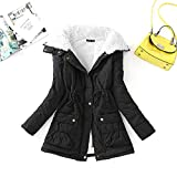 YHWW Chaqueta de Plumas,New Winter Cotton Coat Women Slim Snow Outwear Solid Casual Wadded Jacket Thick Cotton Padded Warm Cotton Parkas Puffer Jacket,Black,S