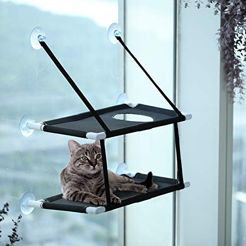 ZolooPet Cat Hammock Bed Window Perch Double Layers Cat Resting Seat Extra Sturdy Cat Holds Up to 60 Lbs