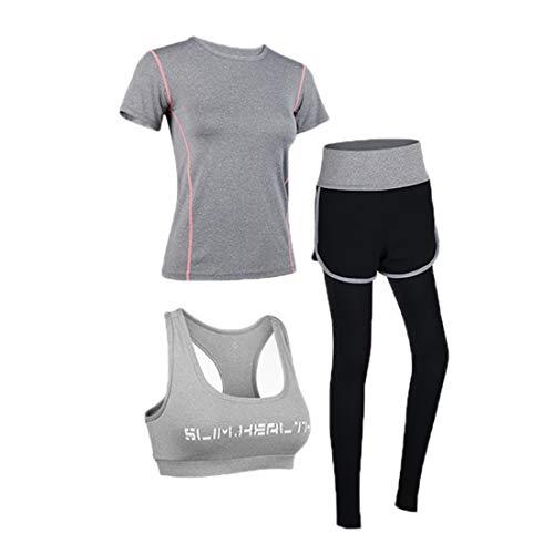 Uni-Wert Bekleidung Yoga Set, Damen Trainingsanzug Set Yoga Jogging Lauf Anzug, Frauen 3er-Set Sportanzug Atmungsaktiv Schnell Trocknend Gym Fitness Outfit Sportsuit Training Sweatsuit Dreiteilig