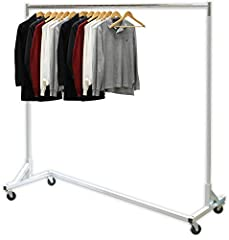 "Commercial Grade Garment Rack holds up to 400 lbs. Comes with Heavy duty 3"" Casters/Wheels with Brakes Sturdy Metal construction with Elegant Silver Paint Dimension: 63""W x 62""H x 24.2""D"