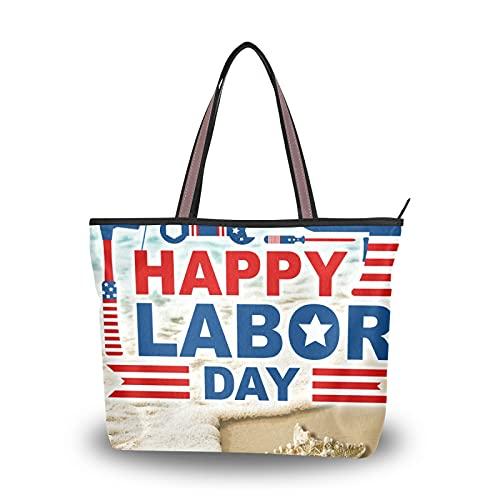 NaiiaN Einkaufstasche Umhängetaschen Handtaschen American Flag Hocker Strandwellen und Seesterne für Mutter Frauen Mädchen Damen Student Leichtgewicht Gurt Geldbörse Einkaufen