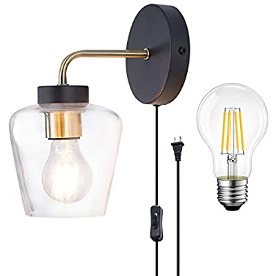 TeHenoo Minimalist Wall Light Sconce,Clear Glass Shade Wall Light Bulb Included, Industrial Edison Wall Lamps Retro Wall Bedroom Stair Lamps E26 Base, Reading,Office, Vanity,Night Light