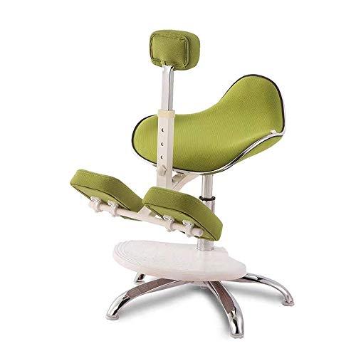 SCDBGY Ygqbgy Silla de Oficina Silla ergonómica de Rodillas Altura Ajustable Piel sintética Gruesa Cojines cómodos Ayuda a Reducir la tensión de la Espalda y el Cuello (Color : Green)